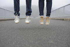 Jump together Stock Images