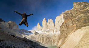 Jump at Torres Del Paine royalty free stock image