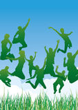 Jump vector illustration. Jumping people silhouettes with outdoor background Royalty Free Stock Images
