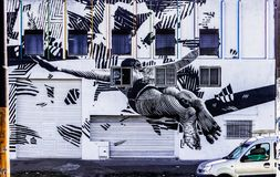 Jump into the wall. Streetart at Buenos Aires suburbs. Unknow artist Royalty Free Stock Photo