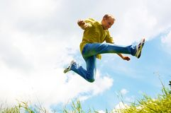 Jump of young men Royalty Free Stock Photo