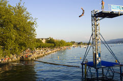 Jump into Zurichsee Stock Photography