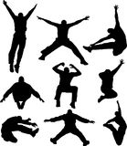 Jumper. Many silhouette of young active man jumping Royalty Free Stock Images