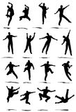 Jumper. Dancer Jump silhouette various poses - VECTOR vector illustration