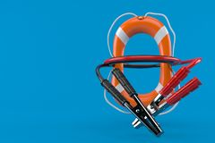 Jumper cable with life buoy. Isolated on blue background. 3d illustration Stock Image