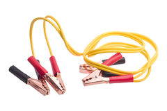 Jumper cables. With yellow cable isolated  on white background Royalty Free Stock Photos