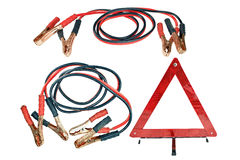 Jumper cables isolated on white background Stock Photo