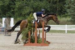 Jumper Rider over en Drievoudige Oxer Royalty-vrije Stock Foto's