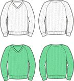Jumper. Vector illustration of knitted jumper. Front and back views Royalty Free Stock Photo
