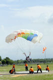 Jumpers. Compete in accuracy landing, in the city of Solo, Central Java, Indonesia Stock Photos