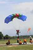 Jumpers. Compete in accuracy landing, in the city of Solo, Central Java, Indonesia Stock Photo