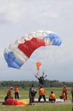 Jumpers. Compete in accuracy landing, in the city of Solo, Central Java, Indonesia Royalty Free Stock Photo