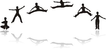 Jumpers, Silhouette Of Boy Royalty Free Stock Image