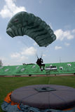 Jumpers. Were practicing landing accuracy in a stadium in the city of Solo, Central Java, Indonesia Royalty Free Stock Images