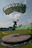 Jumpers. Were practicing landing accuracy in a stadium in the city of Solo, Central Java, Indonesia Stock Images