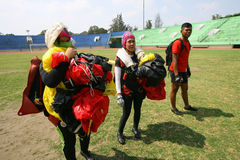 Jumpers. Were practicing landing accuracy in a stadium in the city of Solo, Central Java, Indonesia Stock Image