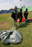 Jumpers. Were practicing landing accuracy in a stadium in the city of Solo, Central Java, Indonesia Stock Photos