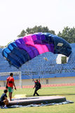 Jumpers. Were practicing landing accuracy in a stadium in the city of Solo, Central Java, Indonesia Royalty Free Stock Photo