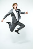 Jumping. Young man in the air Stock Photography