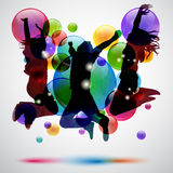 Jumping. Background with happy people jumping and bubbles royalty free illustration