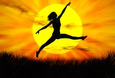 Jumping. Black woman figure jumping in the sunset royalty free illustration