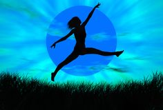 Jumping. Black woman figure jumping in a blue landscape stock illustration