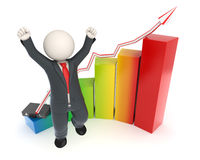 Jumping 3d business man - financial graph chart Royalty Free Stock Image
