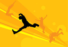 Jumping. Teens jumping energetically and happiness stock illustration