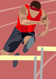 Jumping. The vector illustration of man jumping over hurdle Royalty Free Stock Photography