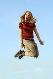 Jumping. Fun happy smiling trendy Royalty Free Stock Images