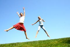 Jumping in the air Royalty Free Stock Photos