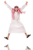 Jumping arab businessman isolated on the white Royalty Free Stock Photography