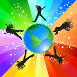 Jumping around the world. Happy girls jumping around the world, vector illustration - World map Courtesy of NASA, author Tinka Sloss Royalty Free Stock Image