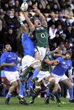 Jumping for the ball at RBS 6 Nations Stock Photography