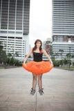 Jumping ballerina Stock Photo
