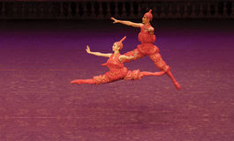 Jumping ballerina Stock Images