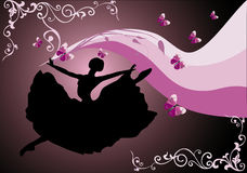Jumping ballerina on decorated background Royalty Free Stock Photos