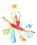 Jumping ballet dancer Royalty Free Stock Images