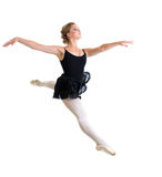 Jumping ballet dancer girl isolated. On white Royalty Free Stock Images