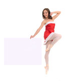 Jumping ballet female dancer with banner Royalty Free Stock Photo