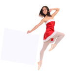 Jumping ballet female dancer with banner Royalty Free Stock Images