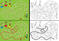 Jumping balls maze. For kids with a solution in color and in black and white Stock Photos