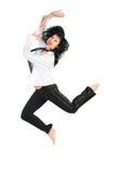 Jumping  barefoot brunette Stock Image