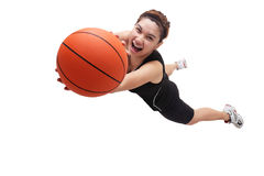 Jumping basketball player Stock Photography