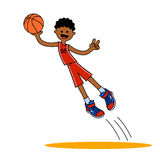 Jumping basketball player AA Royalty Free Stock Photo