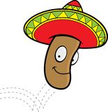 Jumping Bean. A jumping bean wearing a sombrero Stock Image