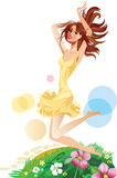 Jumping beautiful girl, face girl, cheerful female with long hair. Vector drawing of jumping beautiful girl, face girl, cheerful female with long hair Royalty Free Stock Photo