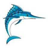 Jumping big blue marlin fish Stock Image