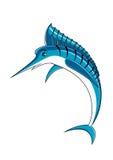 Jumping blue marlin fish character Stock Photography