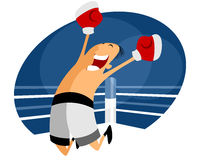 Jumping boxer in white shorts Royalty Free Stock Photos